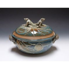 LARGE CASSEROLE W/2 FROGS AS HANDLE