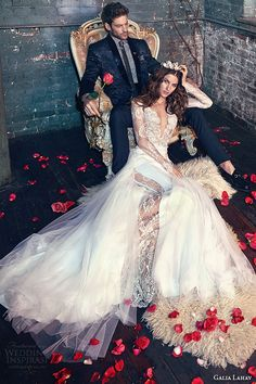 galia lahav spring 2016 bridal dresses long lace sleeves deep v neck plunging neckline mermaid wedding dress tiger lily