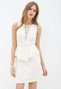 Lace-Paneled Peplum Dress | LOVE21 - 2000066944