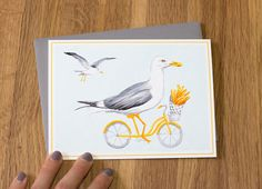 Gull on bicycle with frech fries, cycling gull, gull card Bicycle Drawing, Feather Art, Active, Pebble Painting, My Town, Gull, French Fries, String Art, Watercolor Paintings