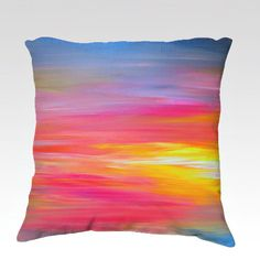 BRIGHT HORIZONS Rainbow Colorful Art Velveteen Decorative 18x18 Throw Pillow Cushion Cover by EbiEmporium, #fineart #art #stripes #rainbow #colorful #multicolor #pink #red #crimson #magenta #yellow #blue #coastal #ocean #sunrise #sunset #abstractpainting #abstract #painting #boldcolors #pillow #pillowcover #cushion #cushioncover #decorative #throwpillow #throwcushion #decor #homedecor #modern #artist #JuliaDiSano #EbiEmporium #whimsical #bedding #bedroom #livingroom #dorm #style