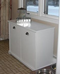 Make recycling a part of your life by building a dedicated recycling center. This simple plan is for a two drawer/door recycling center, at tabletop height. Garbage Recycling, Recycling Station, Recycling Center, Recycling Bins, Easy Diy Projects, Home Projects, Pantry Storage Cabinet, Storage Cabinets, White Pantry