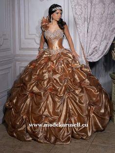 Quinceanera Traumhaftes Ballkleid Brautkleid Abendkleid Abiballkleid in Gold  www.modekarusell.eu