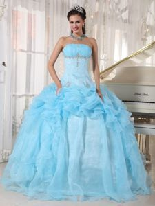 Baby Blue Strapless Beading Ruffled Quince Dress with Pick-ups
