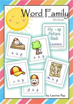 Word Families - Mini-Books (Short Vowels) {FREE}. Kids cut and paste the pictures included in the unit (or from a magazine), then write the CVC word for each picture. Great word work practice for kids learning to read!