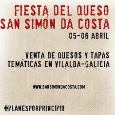 Fiesta del Queso Don Simón Da Costa en Galicia.  Los próximos días 05 y 06 de abril, Vilalba celebra su vigésima fiesta del queso San Simón Da Costa y su VII Feria de tapas elaboradas con este producto. http://blog.porprincipio.com/san-simon-dicea-comer-queso/