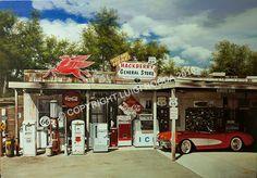 """""""Corvette drive on Route 66"""" 100x70 cm, Luigi Rocca"""