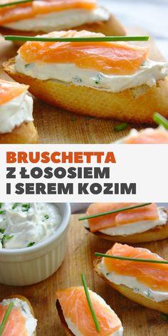 Bruschetta z łososiem wędzonym i serem kozim   Słodkie Gotowanie Bruschetta, Hamburger, Sandwiches, Food Porn, Bread, Dinner, Party, Recipes, Goat
