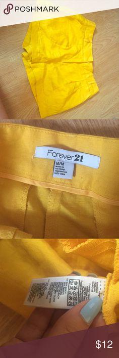 High waisted yellow linen shorts High waisted yellow linen shorts. New worn. Great condition. Forever 21 Shorts