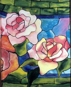 stained glass rose painting by mary van deusen