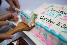 Gender reveal cake.... It's a boy!
