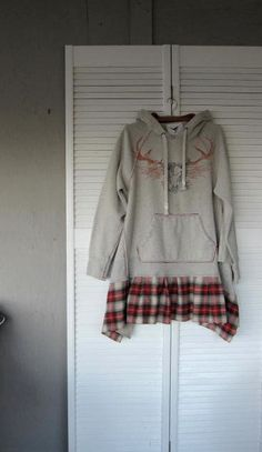 LargeXLarge upcycled clothing rustic  Hoodie by lillienoradrygoods, $92.50