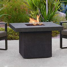 Real Flame Ventura 36 in. x 25 in. Square Fiber-Concrete Propane Fire Pit in Kodiak Brown with Natural Gas Conversion Kit