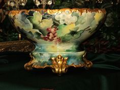 Stunning Limoges Grape Punch Bowl/Plinth/Base Amazing Colors