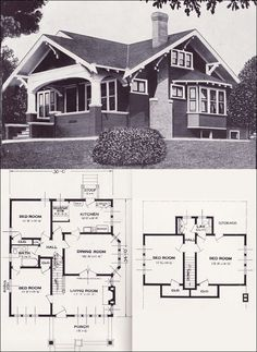 The Varina - Bungalow - 1923 Craftsman-style from the Standard Homes Compa. - The Varina – Bungalow – 1923 Craftsman-style from the Standard Homes Company – House Pl - Craftsman Bungalow House Plans, Bungalow Floor Plans, Craftsman Style Homes, Craftsman Bungalows, House Floor Plans, Bungalow Homes Plans, Craftsman Floor Plans, Bungalow Ideas, Bungalow Kitchen