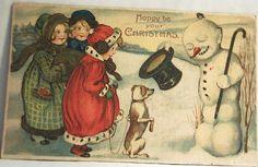 Vintage Christmas Postcard, Snowman and Dog and Kids