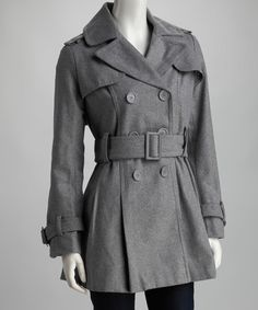 Another great find on #zulily! Heather Gray Double-Breasted Trench Coat by Yoki #zulilyfinds