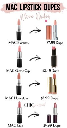 25 Cheap Mac Lipstick Dupes For The Best Selling Shades Get amazing drugstore dupes makeup dupes from Revlon Rimmel Maybelline NYX Wet N Wild Milani and other brands tha. Mac Lipstick Shades, Best Mac Lipstick, Mac Lipstick Dupes, Drugstore Makeup Dupes, Beauty Dupes, Nude Lipstick, Eyeshadow Dupes, Mac Makeup, Top Mac Lipsticks
