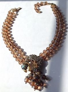 VTG MIRIAM HASKELL SIGNED HONEY TOPAZ GLASS BEAD & RHINESTONE PENDANT NECKLACE in Jewelry & Watches, Vintage & Antique Jewelry, Costume, Designer, Signed, Necklaces & Pendants | eBay