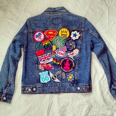 Vintage Patched denim jacket / Patched jean jacket by KodChaPhorn