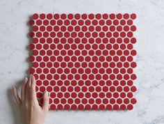 Broadwater Red Gloss Penny Round Mosaic Tile   TileCloud   Avaliable @ tilecloud.com.au