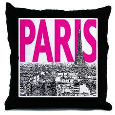 Paris Pink Throw Pillow