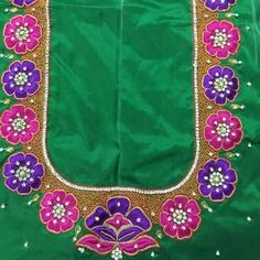 South Indian Blouse Designs, Best Blouse Designs, Simple Blouse Designs, Blouse Neck Designs, Sleeve Designs, Hand Designs, Flower Designs, Maggam Work Designs, Embroidery Neck Designs