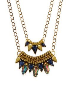 Set Of 2 Layered Bib Necklaces by Deepa Gurnani at Gilt