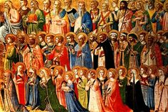 """Detail from """"The Forerunners of Christ with Saints and Martyrs"""" panel from Fra Angelico's magnificent San Domenico altarpiece in Fiesole, Italy. Fra Angelico, Patron Saints, Catholic Saints, Catholic Holidays, Catholic Kids, Roman Catholic, Samhain, Litany Of The Saints, National Gallery"""