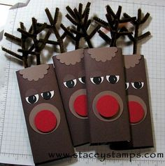 Rudolph Wrapped Hershey Bar. I like the pipe cleaner idea, the other I saw used paper. I would just use brown paper, a red pom pom and maybe large-ish wiggle eyes. Too bad I don't have any of those things. lol.