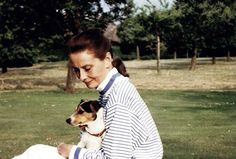 Audrey Hepburn photographed with her one of her Jack Russell terriers.