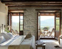 COZY BEDROOM - stone and beams