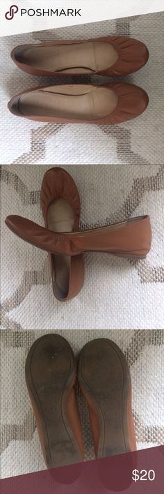 JCrew Leather Flats Beautiful camel colored leather flats, made in Italy. Nice thick leather. Good condition, some wear in back heels and front toe. J. Crew Shoes Flats & Loafers