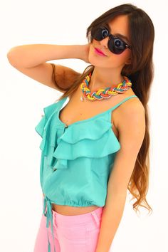 Ruffle Strap Crop Top in Turquoise