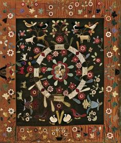 possibly made in New York State between 1825 -1845. The quilt measures 91″ x 80-1/2″  Folk Art Museum in New York