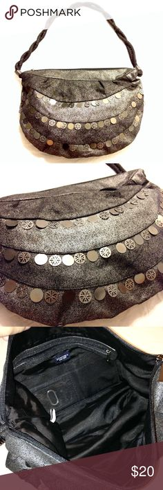 """Boho-style shoulder bag Metallic gray shoulder bag with 3 layers of fine silver sequins hanging across the front. Used a few times and kinda just forgot about it. Strap is twisted fabric. Measurements: 18.5L x 13.5H. Strap drops at 18"""". Can also be used as a crossbody if you're short. Great condition, no sequins missing. No trades or lowball offers please. Sonoma Bags Shoulder Bags"""