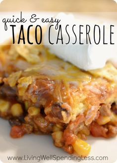 Quick & Easy Taco Casserole. This super yummy family pleasing recipe whips up in just 15 minutes, and is ready to eat in just 45! Great go-to meal for busy weeknights.
