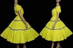 Vintage 1950s Dress Yellow Peasant Dress by ByMidnightSparkle