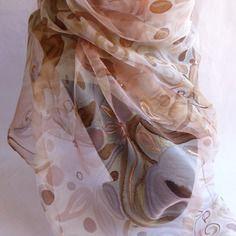 """Foulard écharpe en mousseline de soie peint main rose doux """" arômes poudrés """""""
