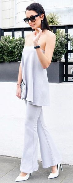 #summer #outfits #inspiration | Grey Off The Shoulder Pant Suit