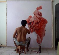 """asylum-art: """" _Shocking Content_ Painful Paintings by Fabio Magalhaes Fabio Magalhaes creates gorgeous, cringe-worthy paintings of painful, meaty predicaments. Metaphorically connecting images of his..."""