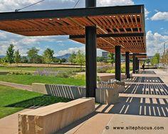 Wood and steel pergola structure at Belmar in Lakewood, Colorado.  www.sitephocus.com