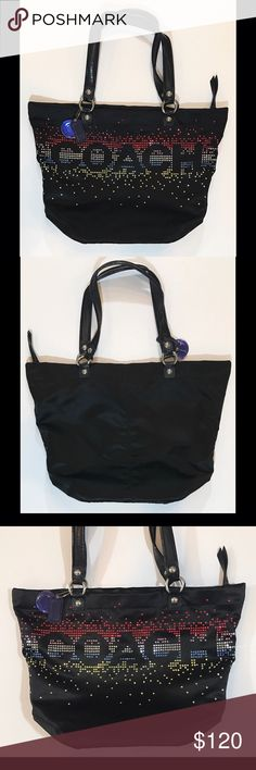 *Rare - Limited Edition* Coach Rhinestone Tote *Rare - Limited Edition* Coach 3D rhinestone large sateen tote. Secure zip top closure. Inside shown in photos. No. H1173-F17144 Coach Bags Shoulder Bags