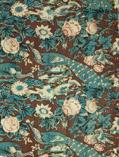 chintz: peacock motif | indigo: block print + pencil blue: applied directly onto fabric | c. 1880