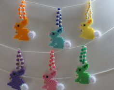 Easter Pastel Bunnies Perler Beads 6 pcs by AllPixelsandThings