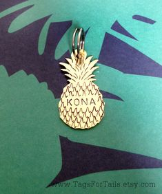 Aloha! Your tropical paradise awaits with our Pineapple Pet ID Tag (or great as a keychain as well). Each scale of the pineapple is added by hand