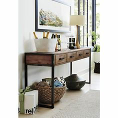 Beautiful Entry Table Decor Ideas to give some inspiration on updating your house or adding fresh and new furniture and decoration. Entryway Console Table, Entry Tables, Table Desk, Rustic Console Tables, Lamp Table, Side Tables, Buffet Lamps, New Furniture, Crate And Barrel