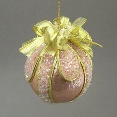 """The Moon on the Breast of the New-Fallen Snow"" by Towers and Turrets - Copper Pink Lamé Ball Christmas Ornament - Handmade Towers and Turrets Ornaments,http://www.amazon.com/dp/B008HHM1ZA/ref=cm_sw_r_pi_dp_yRZwsb0ZENRESZVR"