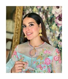 Click on Visit for Video - Full Video on Youtube Hina Altaf, Iqra Aziz, Celebs, Celebrities, Pakistani Actress, Floral Tops, Crochet Necklace, Sari, Photoshoot