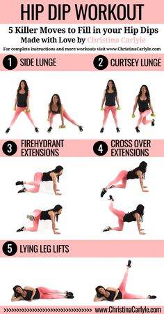 Workout - Discover How to Lose Hip Dips. Learn how to lose hip dips, the best exercises for hips and get a hip dip workout that really works from Christina Carlyle. Fitness Motivation, Fitness Workouts, Fitness Tips, Health Fitness, Exercise Motivation, Enjoy Fitness, Fitness Style, Best Fitness, Fitness For Women